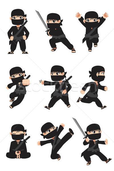 Kid ninja différent enfant garçon masque Photo stock © artisticco