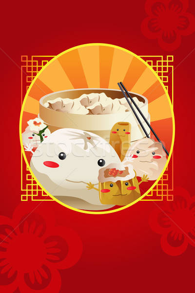 Chinese dim sum, used for restaurant menu cover Stock photo © artisticco