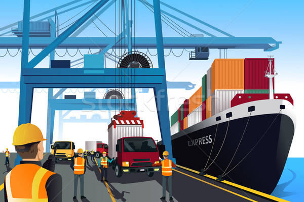 Shipping port scene Stock photo © artisticco