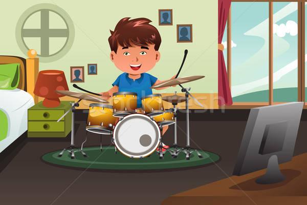 Gyerek gyakorol dob otthon aranyos fiú Stock fotó © artisticco
