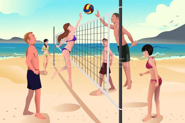 Gençler oynama plaj voleybol mutlu adam Stok fotoğraf © artisticco