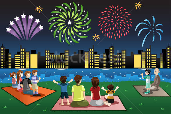 Families Watching Fireworks in a Park Stock fotó © artisticco
