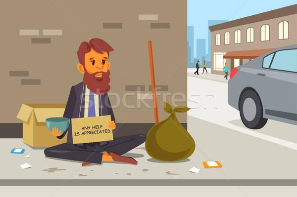 бездомным улице рисунок Cartoon мужчины бедные Сток-фото © artisticco