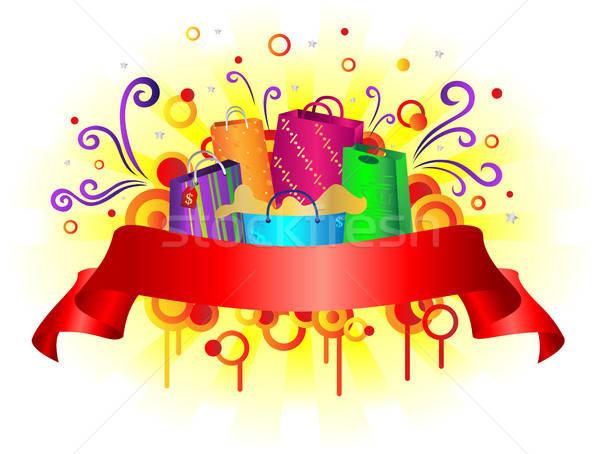 Zakupy banner kolorowy projektu tle torby Zdjęcia stock © artisticco