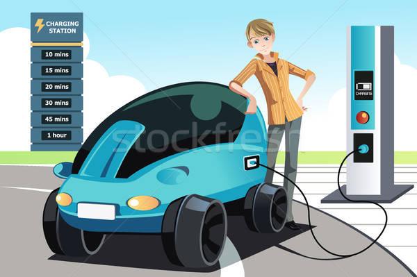 Man charging electric car Stock photo © artisticco