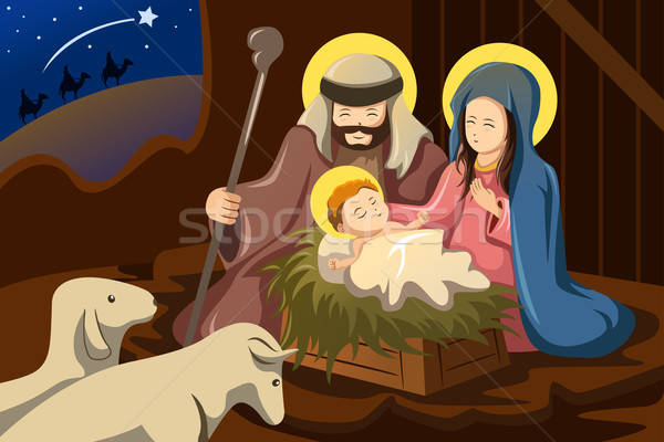 Joseph, Mary and baby Jesus Stock photo © artisticco