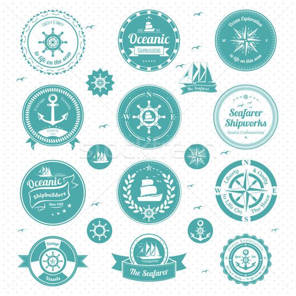 Nautique icônes boussole bateau navire tampon Photo stock © artisticco