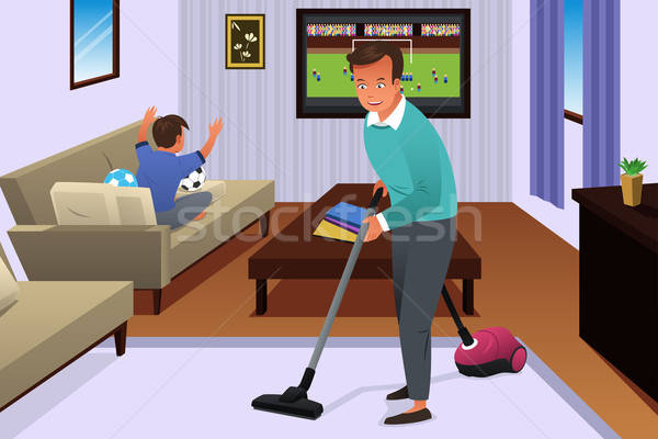 Father Vacuuming the Carpet in the House Stock photo © artisticco