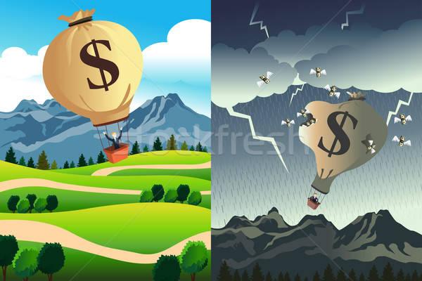 Siker csőd üzlet hegy pénzügy rajz Stock fotó © artisticco