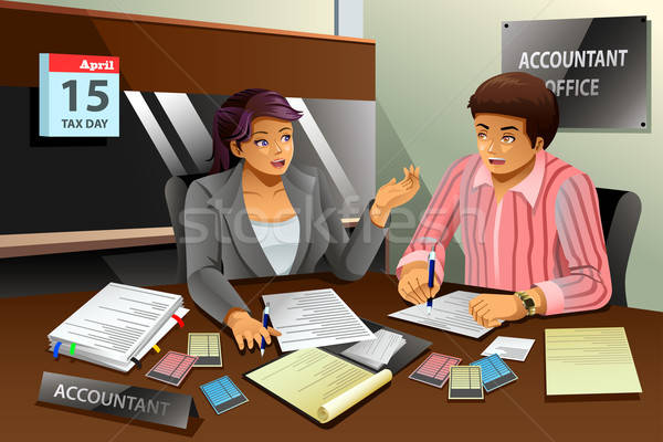 Accountant Helping a Man Filling the Tax Stock photo © artisticco