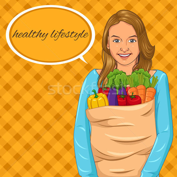 Dziewczyna torby papierowe pełny warzyw piękna dziewczyna Zdjęcia stock © artisticco