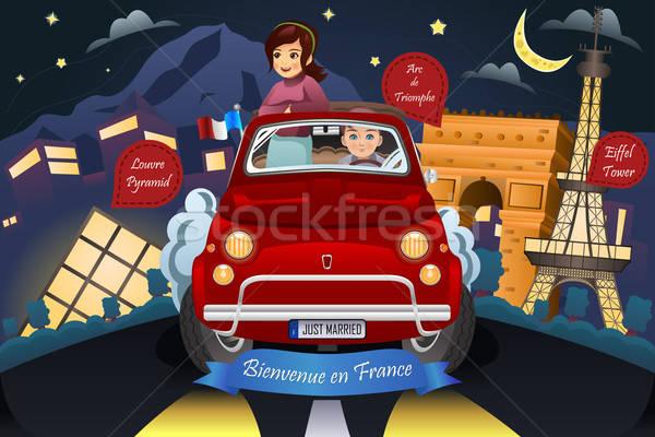 Paar huwelijksreis rond Frankrijk gelukkig reizen Stockfoto © artisticco