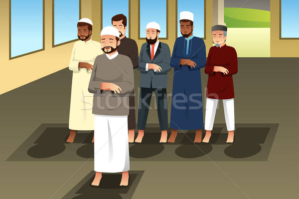 Muslim Men Praying in Mosque Stock photo © artisticco
