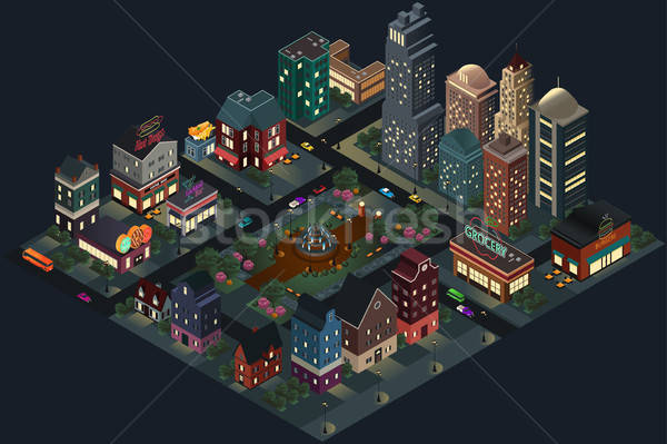 Isometric Design of City Streets and Buildings at Night Stock photo © artisticco