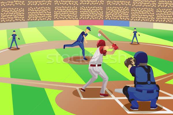 Beisebol jogo jogadores jogar esportes desenho Foto stock © artisticco