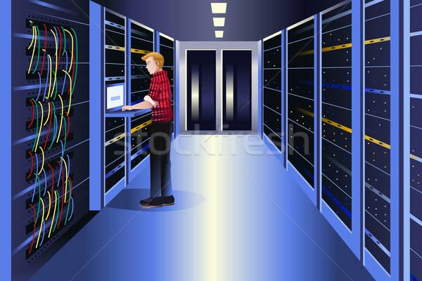 Człowiek pracy data center komputera serwera sieci Zdjęcia stock © artisticco