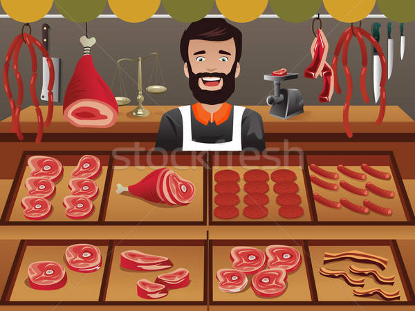 Meat seller in a farmer market Stock photo © artisticco