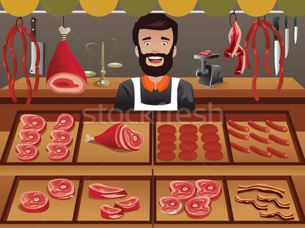 Carne vendedor jeans mercado vetor illustrator Foto stock © artisticco
