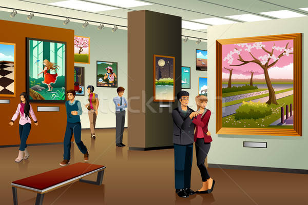 Stock photo: People Visiting an Art Gallery