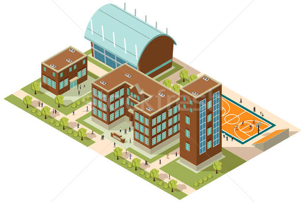 Isometric College Campus Stock photo © artisticco