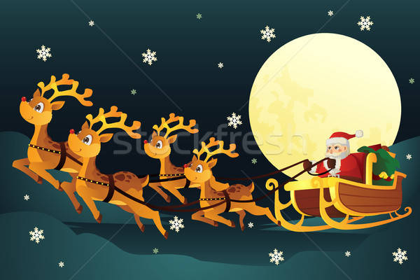 Santa riding sleigh with reindeers Stock photo © artisticco