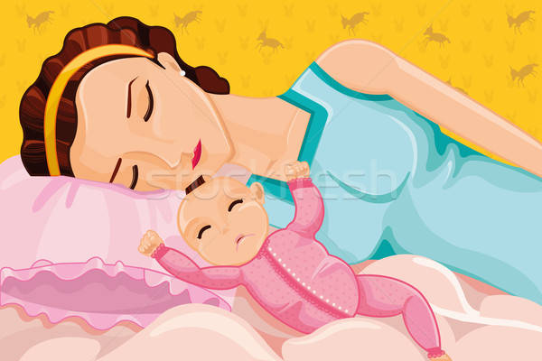 Moeder slapen baby kind bed Stockfoto © artisticco