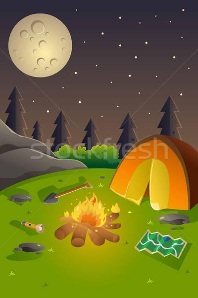 Jóvenes campamento de verano anunciante diseno espacio de la copia forestales Foto stock © artisticco