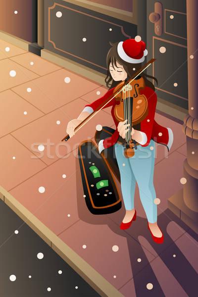 Dziewczyna gry skrzypce ulicy muzyk zimą Zdjęcia stock © artisticco