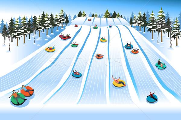 Pessoas tubulação colina inverno mulher Foto stock © artisticco