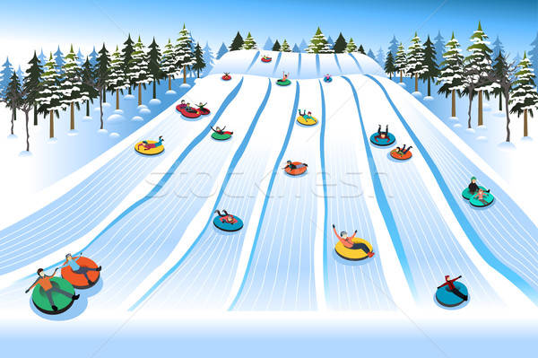 People Having Fun Sledding on Tubing Hill During Winter Stock photo © artisticco