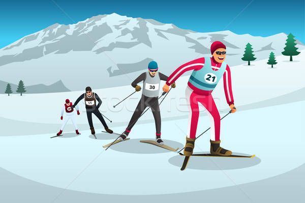 Cross Country Skiing Athletes Competing Illustration Stock photo © artisticco