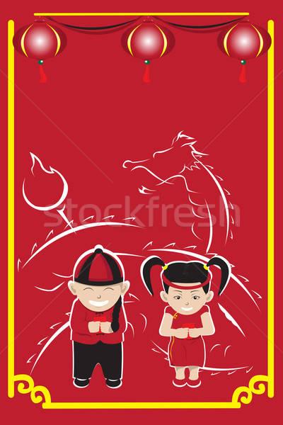 Kínai új év ünneplés pár gyerekek ünnepel lány Stock fotó © artisticco