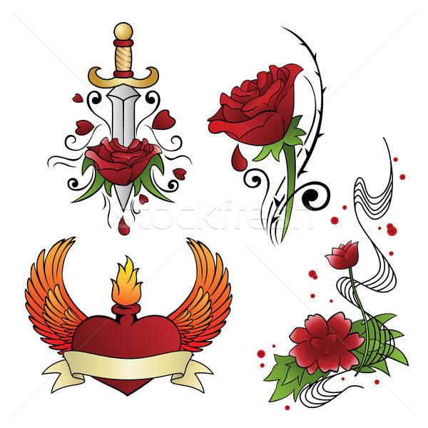 Сток-фото: татуировка · различный · цветок · искусства · красный