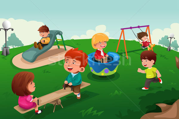 Kids playing in the park Stock photo © artisticco