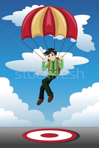 Businessman with a parachute landing on a target Stock photo © artisticco