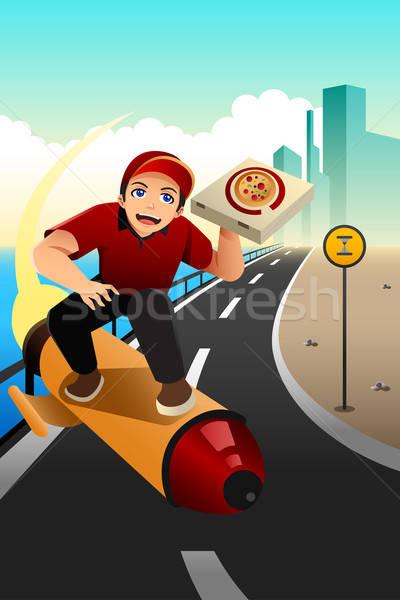 Pizza delivery guy deliver the pizza Stock photo © artisticco