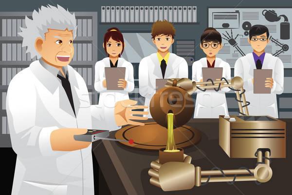 Profesor eksperyment wynalazek człowiek studentów Zdjęcia stock © artisticco