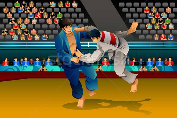 Hombres judo competencia hombre salud lucha Foto stock © artisticco