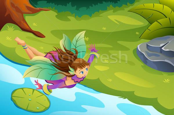 Vliegen fairy fantasie illustratie vleugels cartoon Stockfoto © artisticco