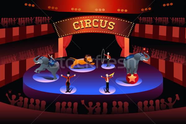 Sirk performans sahne çizim karikatür göstermek Stok fotoğraf © artisticco