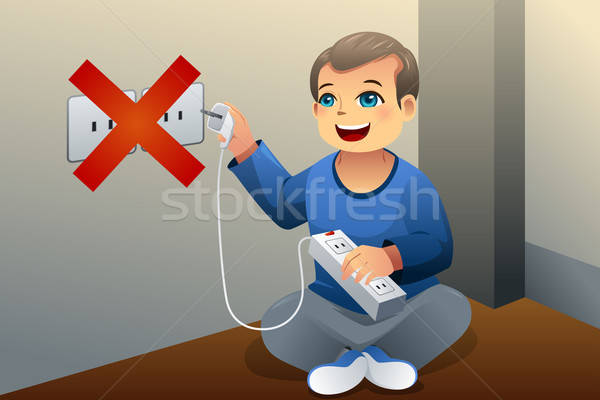 Danger of playing with an electrical outlet Stock photo © artisticco