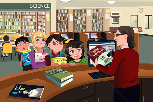 Kids checking out books in the library Stock photo © artisticco