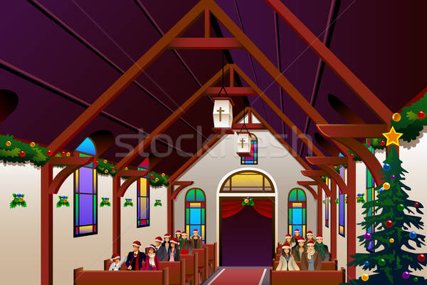 People Celebrating Christmas Eve Inside the Church Stock photo © artisticco