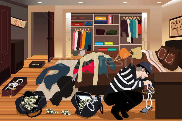 Burglar Stealing Jewelries From a House Illustration Stock photo © artisticco