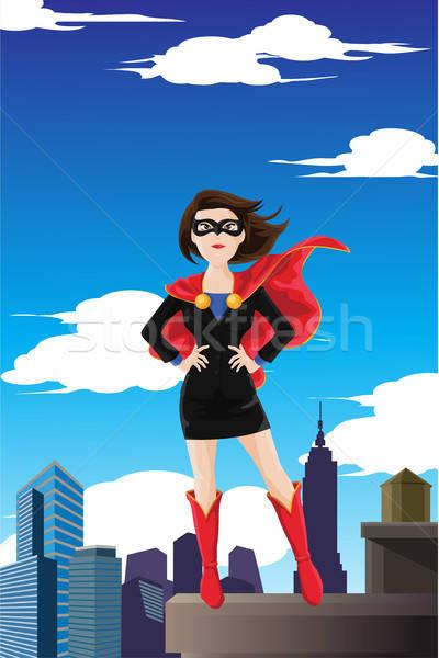 Superhero деловая женщина Постоянный Top здании Сток-фото © artisticco
