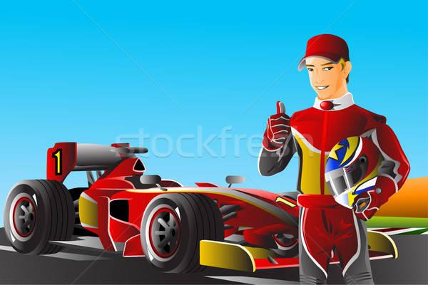 Race auto bestuurder auto man gelukkig sport Stockfoto © artisticco