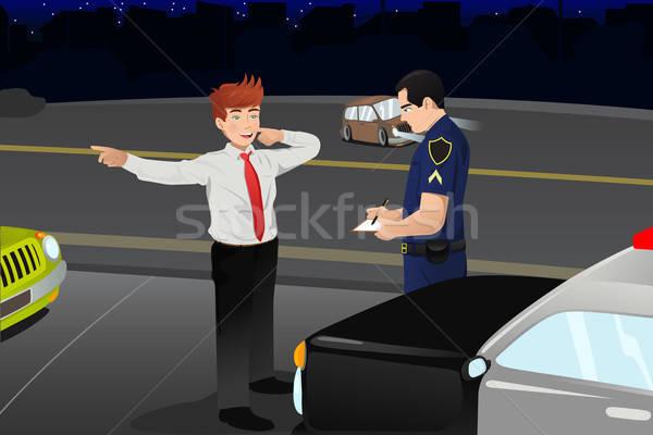 Rendőrség ittas vezetés teszt részeg sofőr férfi Stock fotó © artisticco