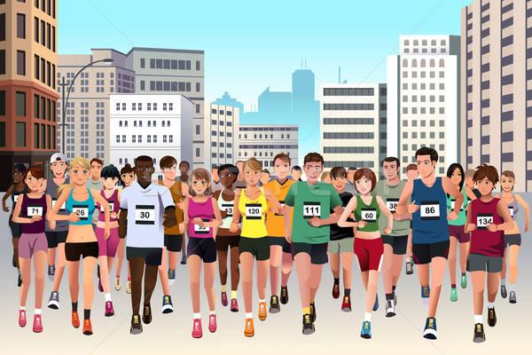 人 を実行して マラソン グループ 選手 通り ストックフォト © artisticco