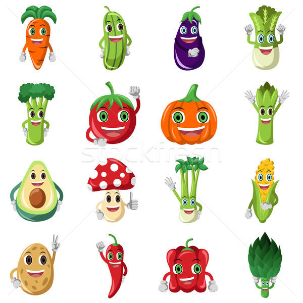 Vegetable character icons Stock photo © artisticco