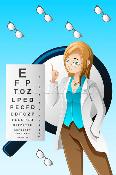 Okulista oka okulary pielęgniarki młodych pracy Zdjęcia stock © artisticco
